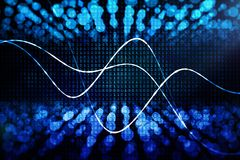 Technology, computing and information concept. Creative glowing binary code background with business chart. Technology, computing and information concept. 3D Stock Photography