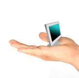 Technology concept. Close up hand hold a pc (technology concept Royalty Free Stock Photo