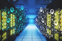 Technology concept. Abstract blurry server room with polygonal network. Technology concept. 3D Rendering Royalty Free Stock Image