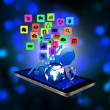 Technology concept with Colorful application icon on smartphone, Royalty Free Stock Image
