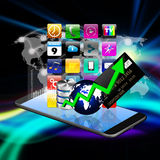 Technology concept with Colorful application icon on smartphone, Stock Photos