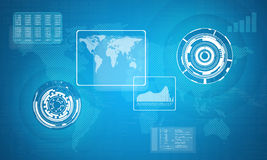 Technology concept consits of world map, graphs Stock Image