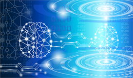 Technology concept,digital brain genius. With electric circuit Royalty Free Stock Images