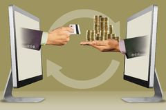Digital concept, two hands from displays. hand with credit card and coins. 3d illustration. Technology concept, hands from computers. hand with credit card and stock images