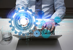 Technology concept laptop and water Royalty Free Stock Image