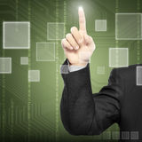 Technology Concept. Man hand seems like to touch something. With Technology background Stock Photo