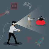 Technology concept,Man playing game in VR Glass - Vector Royalty Free Stock Image