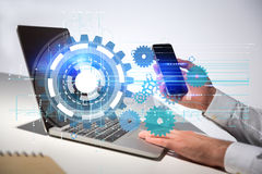 Technology concept man using devices Royalty Free Stock Photo