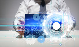 Technology concept man using tablet Royalty Free Stock Image