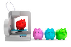 Technology concept. Modern Home 3d printer print Multicolour Pig Stock Photos