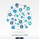 Technology connection concept. Abstract background with integrated circles and icons for digital, internet, network. Connect, communicate, social media, global Stock Illustration