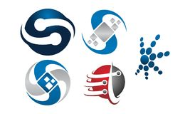 Technology Connection Logo Set. Vector Royalty Free Stock Photo