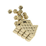 Technology cube arrow golden emblem icon Stock Image