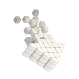 Technology cube arrow white plastic icon Stock Photography