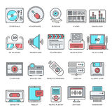 Technology and Culture Flat Line Icon Set Royalty Free Stock Image