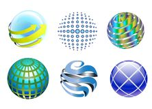 Technology 3D Globe Icons. A set of different 3D globe vector design isolated on white background. Business logo and technology graphic illustration Stock Photography
