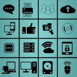 Technology and data icon for life in symbols set Stock Images