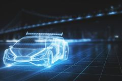 Technology, design and transport concept. Creative glowing sports car model on blurry city background. Technology, design and transport concept. 3D Rendering royalty free stock photography