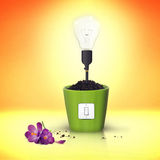 Technology destroy the environment. Ecology concept - light bulb with bad life Stock Image