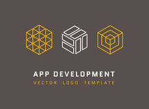 Technology, development, architecture, game studio vector logos set in line style. App development logo, company development app, isometric logo app Royalty Free Stock Photos