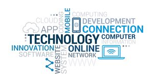 IT technology and networks tag cloud. IT technology, development and networks tag cloud vector illustration