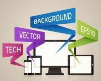 Technology Device Background. Technology Device Symbols and message background Stock Image