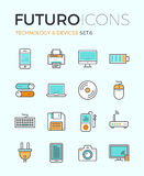 Technology devices futuro line icons royalty free illustration