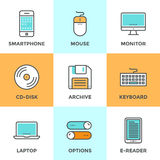 Technology devices line icons set Stock Image