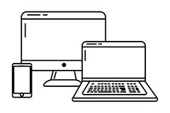 Technology devices online connected black and white. Technology devices online connected smartphone computer screen and laptop black and white vector royalty free illustration