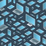 Technology Devices Seamless Pattern Background Isometric View. Vector Stock Photo