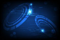 Technology digital circuit with ring of futuristic data blue con royalty free illustration