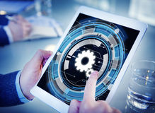 Technology Digital Network Cog Teamwork Concept Stock Photo