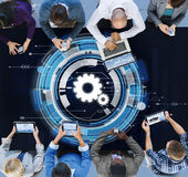 Technology Digital Network Cog Teamwork Concept royalty free stock image