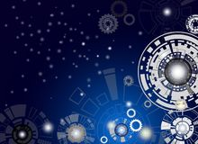 Technology digital telecoms and engineering gear wheel on circui Royalty Free Stock Photography