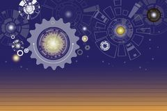 Technology digital telecoms and engineering gear wheel on circui. T board with lighting, Abstract futuristic background, Vector illustration colorful. Hi-tech Stock Image