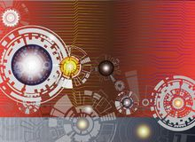 Technology digital telecoms and engineering gear wheel on circuit board. Royalty Free Stock Photos