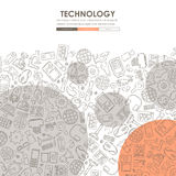 Technology Doodle Website Template Design vector illustration