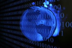 Technology Earth. A blue glass earth globe with fiber optic cable behind it and binary numbers in the foreground, against a velvet black background Stock Images