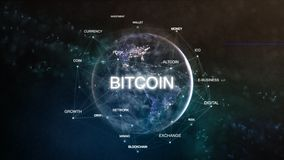 Technology earth from space word set with bitcoin in focus. Futuristic bitcoin cryptocurrency oriented words cloud 3D stock illustration
