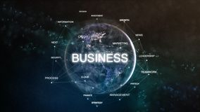 Technology earth from space word set with business in focus. Futuristic financial oriented words cloud 3D illustration. Success keywords concept Stock Photo