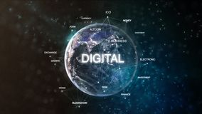 Technology earth from space word set with digital in focus. Futuristic bitcoin cryptocurrency oriented words cloud 3D. Illustration. Crypto e-business keywords Stock Photography
