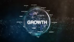 Technology earth from space word set with growth in focus. Futuristic financial oriented words cloud 3D illustration. Success keywords concept Stock Images
