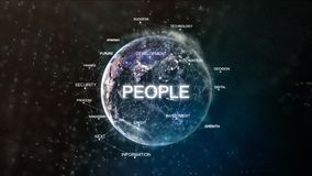 Technology earth from space word set with people in focus. Futuristic financial oriented words cloud 3D illustration Royalty Free Stock Photography