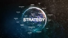 Technology earth from space word set with strategy in focus. Futuristic financial oriented words cloud 3D illustration Stock Photos