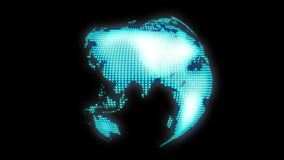 Technology earth spinning with glowing alpha channel HD video. Loopable globe royalty free illustration