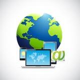 Technology electronics and Globe Royalty Free Stock Photo