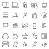 Technology and Electronics Icons. Set of 25 thin line computer technology and electronics icons Royalty Free Stock Photography