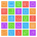 Technology and Electronics Icons. Set of 25 thin line computer technology and electronics icons stock illustration