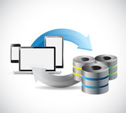 Technology electronics transferring to servers. Concept illustration design background Stock Photo