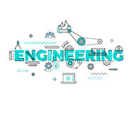 Technology, engineering vector flat concept Royalty Free Stock Photo